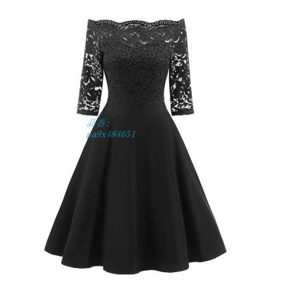 ドレス ワンピース 結婚式 20代 ひざ丈 30代 刺繍 体型カバー 服 大きいサイズ ドレス パーティー レース 40代 チュール