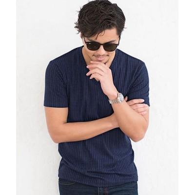 【シルバーバレット】 CavariA ストライプ柄Vネック半袖Tシャツ メンズ Vネック トップス インナー カットソー 無地 立体的 ストライプ ストレッチ 伸縮性 メンズ ネイビー 44(M) SILVER BULLET