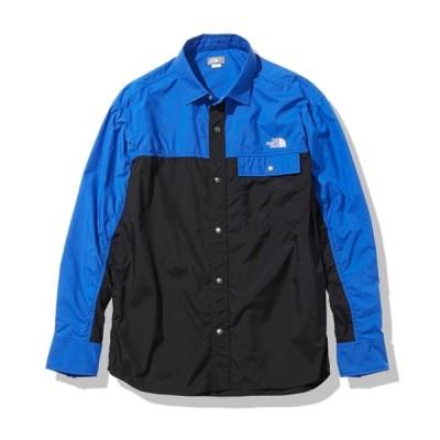 アウトドアシャツ ザ・ノースフェイス 21春夏 L/S NUPTSE SHIRT(ロングスリーブ ヌプシ シャツ)ユニセックス L ブラック×TNFブルー(KB)