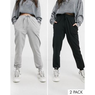 エイソス ASOS DESIGN レディース ジョガーパンツ 2点セット ボトムス・パンツ basic jogger with tie 2 pack SAVE ブラック/グレー