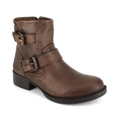ジジソーホー ブーツ&レインブーツ シューズ レディース Women's Elicia Moto Buckle Leather Booties Brown Leather