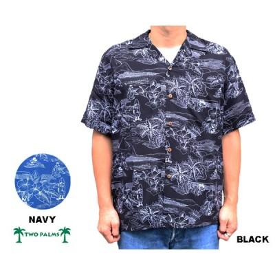 TWO PALMS トゥーパームス アロハシャツ ハワイ製 ディズニー ミッキーマウス  レーヨン 黒 ブラック ネイビー 「DISNEY」
