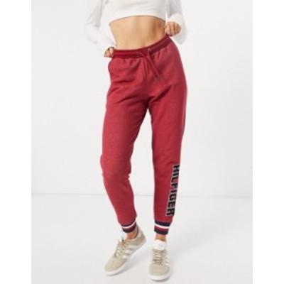 トミー ヒルフィガー レディース カジュアルパンツ ボトムス Tommy Hilfiger Modern Stripe terrycloth logo sweatpants in red Deep rou