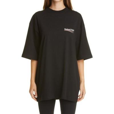 バレンシアガ BALENCIAGA レディース Tシャツ ロゴTシャツ トップス Political Campaign Logo Oversize Graphic Tee -Black/White