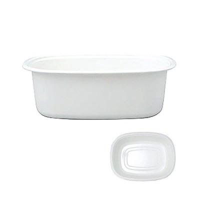 ストック 仕込み 厨房用品 / White Series楕円型洗い桶 WA-O 寸法: 380 x 287 x H126mm