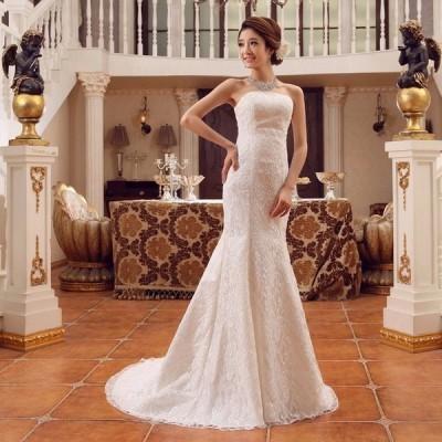 !パーティードレス!豪華な ウェディングドレス☆ロングドレス結婚式二次会パーティー エンパイアドレス編み上げ