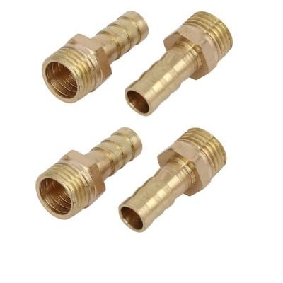 uxcell ホースバーブ継手 カプラ コネクタ アダプタ 真鍮材質 ホース外径8mm おねじ径12.9mm ストレートタイプ 4個入り