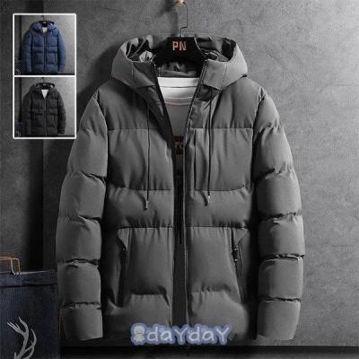 ダウンジャケット メンズ ダウンコート 40代 50代 フード付き 無地 カジュアル 中綿ダウンジャケット 大きいサイズ 秋冬