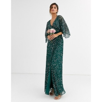 マヤ レディース ワンピース トップス Maya Bridesmaid delicate sequin wrap maxi dress in green