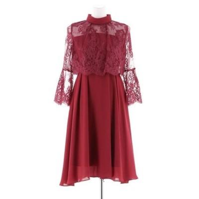ドレス レイヤードデザインボトルネックの結婚式お呼ばれオケージョンフォーマル対応ワンピースドレス