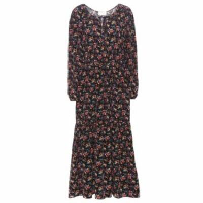 イヴ サンローラン Saint Laurent レディース ワンピース ワンピース・ドレス Printed silk dress Noir/Multicolor