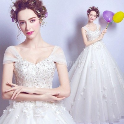 ウェディングドレス Aラインドレス エンパイア 二次会 花嫁 編み上げ  二次会 ホワイト  パーティードレス 嬢ドレス