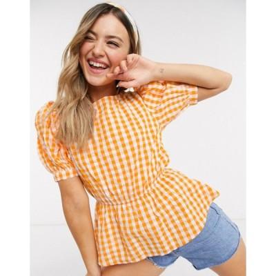 インフルエンス レディース シャツ トップス Influence puff sleeve blouse in yellow gingham