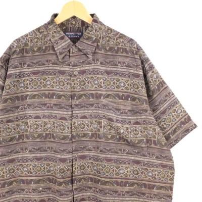 古着 大きいサイズ ROUNDTREE & YORKE 100%レーヨン アートパターン 半袖総柄シャツ メンズUS-XLサイズ ボルドー系 tn-0693n