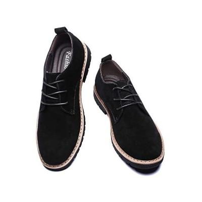 [todaysunny] レースアップシューズ メンズ 本革 スエードシューズ メンズ 紳士靴 カジュアルシューズ (ブラック 26.5 cm)