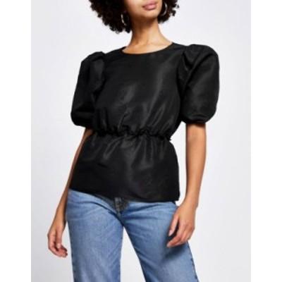リバーアイランド レディース シャツ トップス River Island taffeta puff sleeve top in black Black