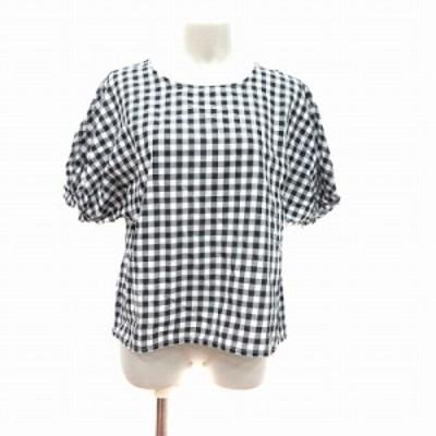 【中古】ディスコート シャツ 五分袖 ノーカラー プルオーバー ギンガムチェック M 黒 ブラック 白 ホワイト