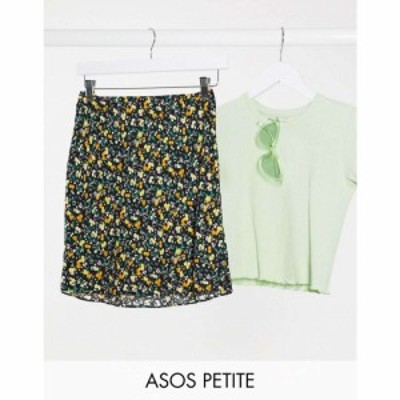 エイソス ASOS Petite レディース ミニスカート スリップスカート スカート ASOS DESIGN Petite printed mini slip skirt in dark floral