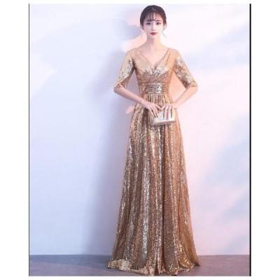ロング丈ワンピース レディース イブニングドレス ロングドレス パーティードレス お呼ばれドレス 結婚式 韓国風 きれいめ 二次会 Aライン 高級感 きれいめ
