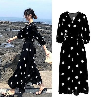 ファッションスカートChiffon Dress Spring Dress 2020 Women s French Retro Dot Mid-Length Section With Black V-N