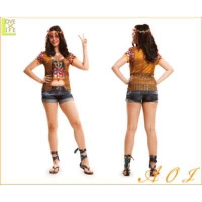【レディ】【Tシャツ】ヒッピーガール【Hippie girl】【平和】【コスT】【シャツ】【装飾】【グッズ】【衣装】【コスプレ】【コスチュー