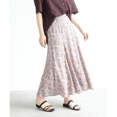 スカート 【洗える】小花柄マーメイドフレアスカート