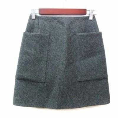 【中古】イエナ IENA 台形スカート ミニ ウール 34 グレー /YI レディース