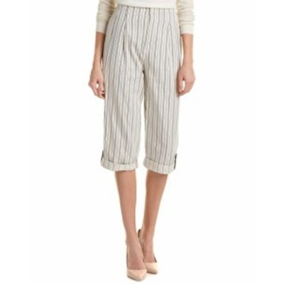 Alice + Olivia アリス+オリビア ファッション パンツ Alice + Olivia Rey Leather-Trim Gaucho Pant 8 White
