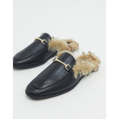 エイソス ASOS DESIGN メンズ ローファー ミュール かかとなし Asos Design Vegan Backless Mule Loafer In Black Faux Leather With Faux Fur ブラック