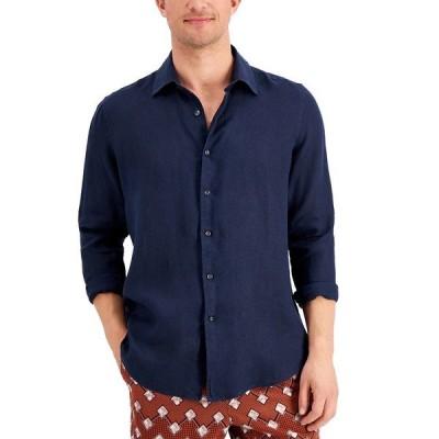 タッソエルバ シャツ トップス メンズ Men's Regular-Fit Solid Linen Shirt, Created for Macy's Navy Blue