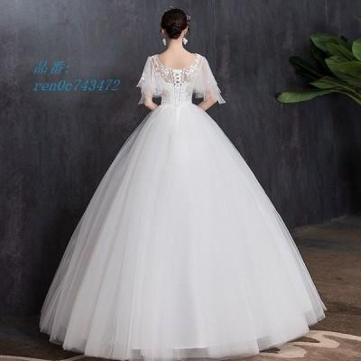 ウェディングドレス ウェディングドレス白 パーティードレス パフスリーブ 可愛いレース V襟 挙式 ウェディング 二次会 結婚式 謝恩会 花嫁ロングドレス