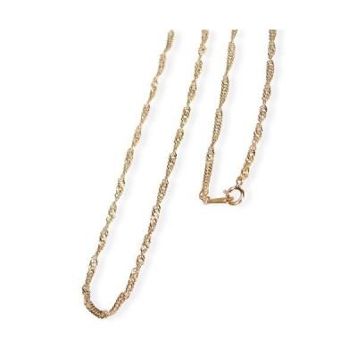 [あなたと私の宝石箱] イタリー製 18金 チェーンネックレス ・極太中空スクリュー45cmすこし長めのゆったり