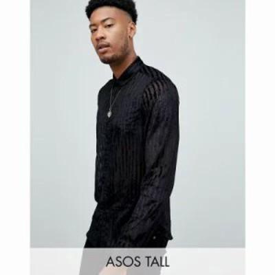 エイソス シャツ Tall party regular fit velvet burnout stripe shirt in black Black