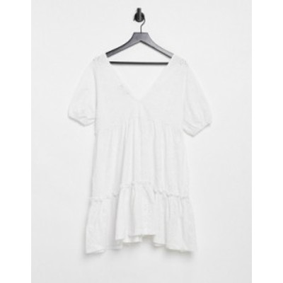 エイソス レディース ワンピース トップス ASOS DESIGN broderie V-neck smock dress with puff sleeves in white White