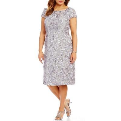 アレックスイブニングス レディース ワンピース トップス Plus Size Cap Sleeve Rosette Lace Dress Dove