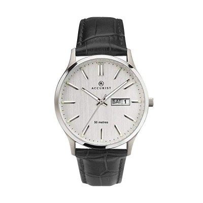 Accurist Mens Silver Day Date Watch 7233 並行輸入品