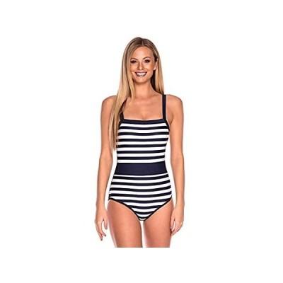RELLECIGA Women's Navy Blue Striped Adjustable Straps Bathing Suit Bandeau 好評販売中