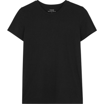 ヴィンス Vince レディース Tシャツ トップス Essential black Pima cotton T-shirt Black