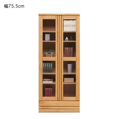 アルダー材のガラス扉付き本棚