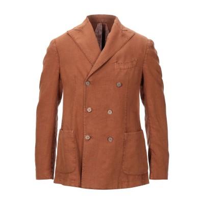 SANTANIELLO テーラードジャケット 赤茶色 48 リネン 100% テーラードジャケット