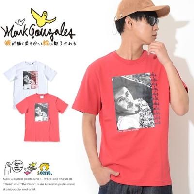 MARK GONZALES マークゴンザレス Tシャツ 半袖 BOXモノクロフォト マルチサインロゴ (2G7-3303) セール