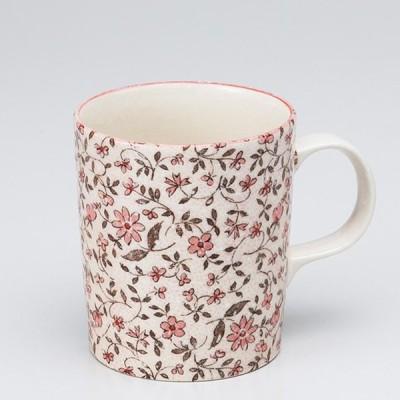 和食器 小花唐草 軽量 マグカップ  赤 カフェ コーヒー 紅茶 珈琲 お茶 オフィス おうち 食器 陶器 おしゃれ うつわ