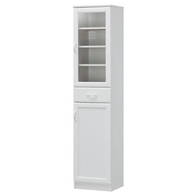 幅40cm、エレガントなホワイトのスリムな食器棚 セシルナ CEC−1840DGH