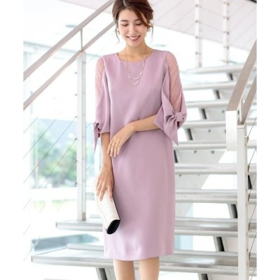 ドレス お袖リボン・レース使いサックラインドレス(ワンピース)