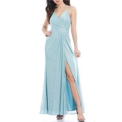 モルガン レディース ワンピース トップス Spaghetti Strap Glitter Shine Knit Long Dress