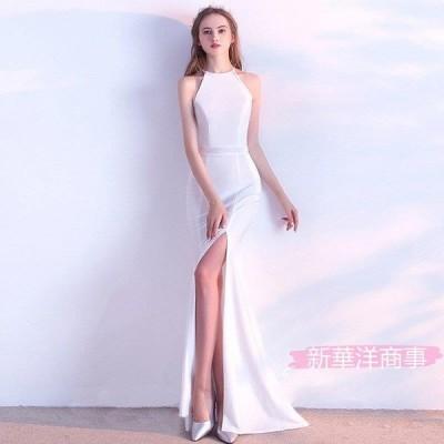 花嫁トースト服ファッションロングレッドフィッシュテールスカートぶら下げネックウェディングパーティーイブニングドレス
