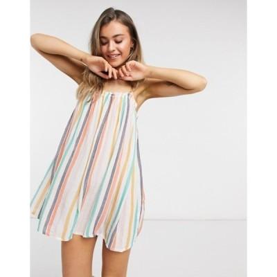 エイソス レディース ワンピース トップス ASOS DESIGN flutter edge beach sundress in irregular stripe print