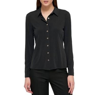トミー ヒルフィガー レディース Tシャツ トップス Matte Jersey Button-Front Long Sleeve Shirt