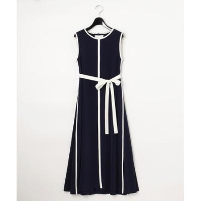 バイカラートリミングドレス