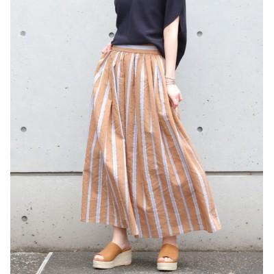 【リエス/Liesse】 ストライプウエストギャザースカート